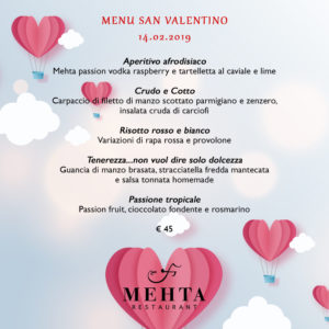 Menu San Valentino Ristorante Martina Franca Mehta